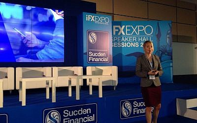 Liset van Oosterhout from Twitter at the IFX Expo Cyprus conference, May 2016 (Hunter Stuart)