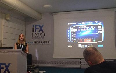 "Tammy Levy of Spotoption gives a ""workshop"" on effective platforms for binary options trading (Hunter Stuart)"