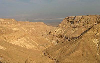 Nahal Tze'elim, overlooking the Dead Sea, in the Judean Desert. (Ilan Ben Zion/Times of Israel staff)