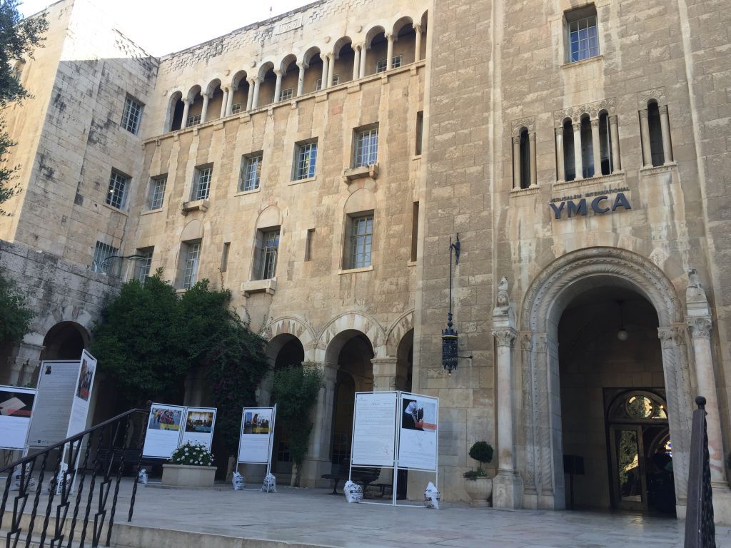 A view of the historic Jerusalem YMCA, where the Teachers' Room photo exhibit is currently being displayed, and where other coexistence projects, including an Arab-Jewish daycare program and youth choir are also held (Jessica Steinberg/Times of Israel)