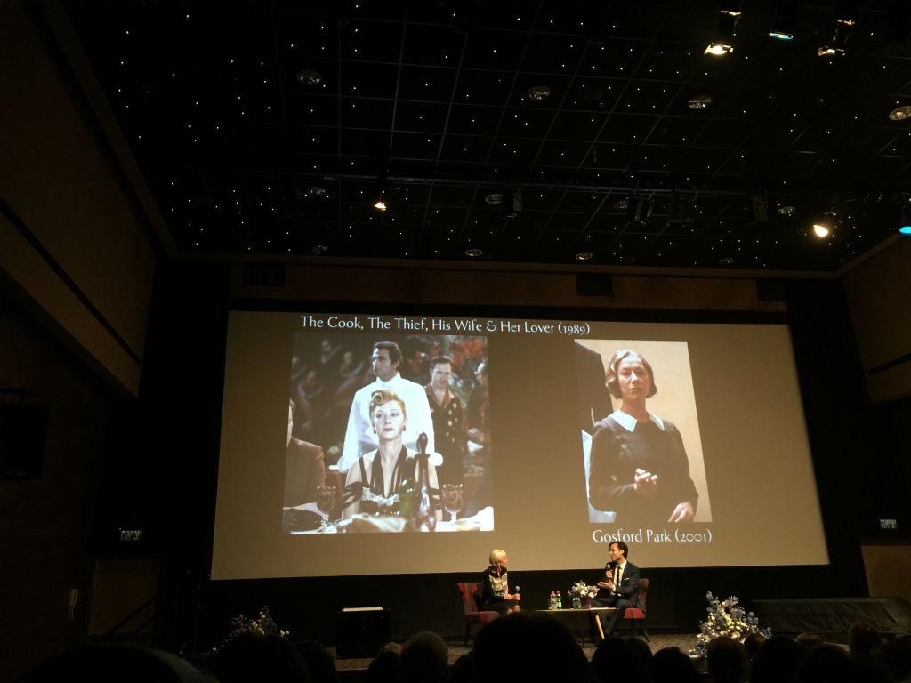 Dame Helen Mirren and moderator Benjamin Friedenberg at the Jerusalem Cinematheque on Wednesday, June 23 (Jessica Steinberg/Times of Israel)
