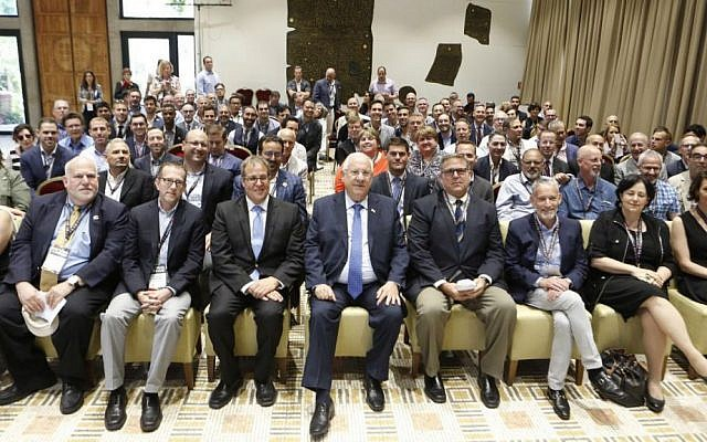 JFNA LGBT mission delegates meet with Israeli President Reuven Rivlin (front row, center) at his official residence in Jerusalem, May 31, 2016. (JFNA)