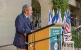 Philanthropist Tad Taube speaks at the groundbreaking of the Taube Family Campus on June 29, 2016 at the Jerusalem-based HUC-JIR rabbinical school. (Avi Hayun)