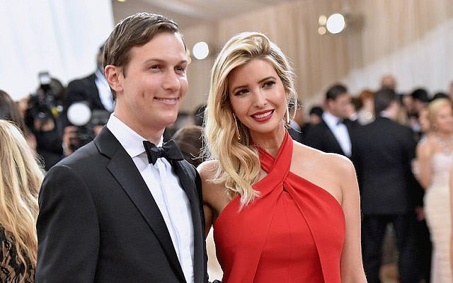 Ivanka Trump and her husband Jared Kushner attend the 'Manus x Machina: Fashion in an Age of Technology' Costume Institute Gala at the Metropolitan Museum of Art in New York City, May 2, 2016. (Mike Coppola/Getty Images for People.com, via JTA)
