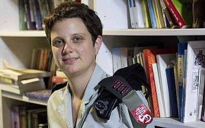Cpt. Sharon Ogen, the medical training officer of the IDF's Southern Command, in her home in Ramat Hasharon. (Judah Ari Gross/Times of Israel)