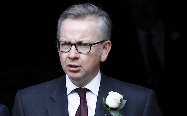 Britain's Justice Secretary Michael Gove walking from Parliament to St. Margaret's Church for a remembrance service for Jo Cox in London, England, June 20, 2016. (Stefan Wermuth – WPA Pool/Getty Images via JTA)