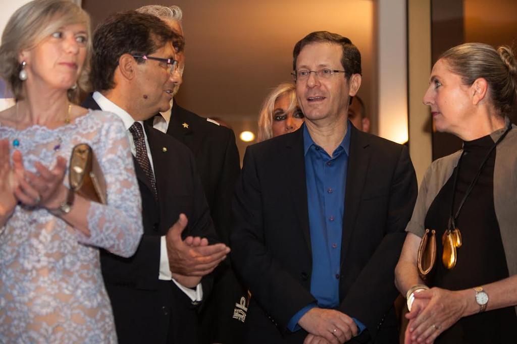 Minister Stefania Giannini, Ambassador Francesco Maria Talò , Israeli opposition leader Isaac Herzog, and Michal Herzog (Rossella Tercatin/Times of Israel)