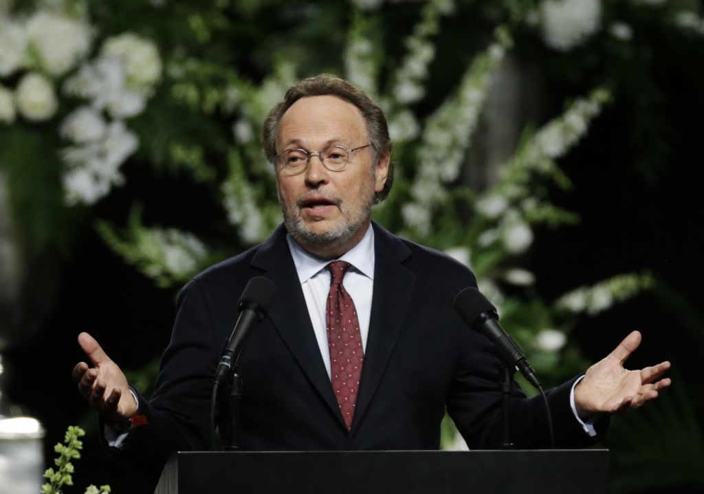 Comedian Billy Crystal delivers a eulogy during Muhammad Ali's memorial service, Friday, June 10, 2016, in Louisville, Ky. (AP Photo/David Goldman)