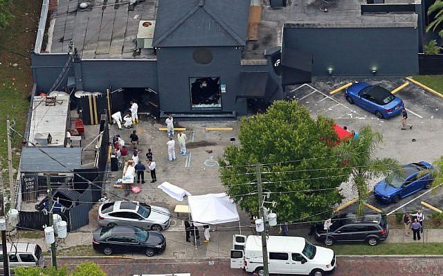 An aerial view of the mass shooting scene at the Pulse nightclub in Orlando, Florida, June 12, 2016. (AP/Phelan M. Ebenhack, File)