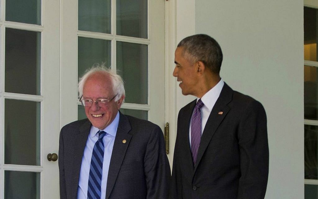 President Barack Obama walks with Democratic presidential candidate Sen. Bernie Sanders, I-Vermont, down the Colonnade of the White House in Washington, Thursday, June 9, 2016. (AP Photo/Pablo Martinez Monsivais)