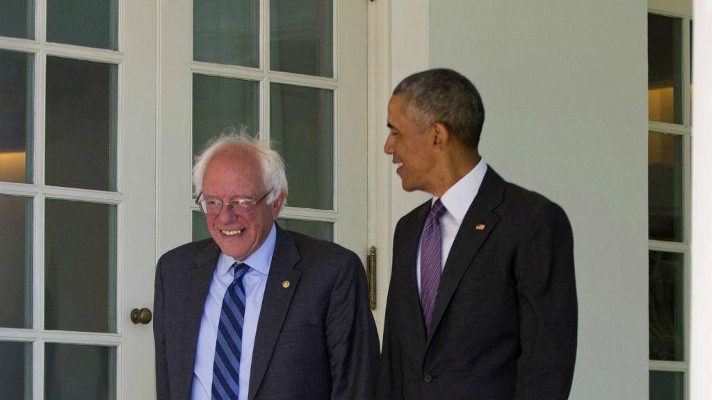 President Barack Obama walks with Democratic presidential candidate Sen. Bernie Sanders, I-Vermont, down the Colonnade of the White House in Washington, Thursday, June 9, 2016. (AP Photo/Pablo Martinez Monsivais)