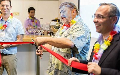 OurCrowd CEO Jon Medved inaugurates the company's Herzliya office, June 26, 2016. (Courtesy)