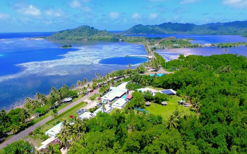 Aerial view of resort on the Micronesian island of Kosrae. (Courtesy)