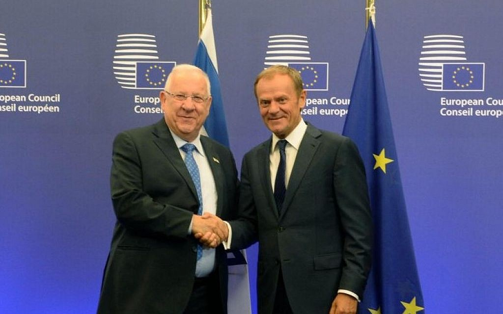 President of the European Council Donald Tusk with Israel's President Reuven Rivlin, June 21, 2016 (Mark Neiman/GPO)