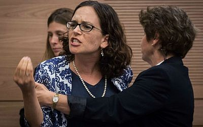 MK Rachel Azaria (Kulanu) is ejected from the Interior Affairs Committee meeting on a law proposal for changing regulations ritual bath use, on June 6, 2016. (Hadas Parush/Flash90)