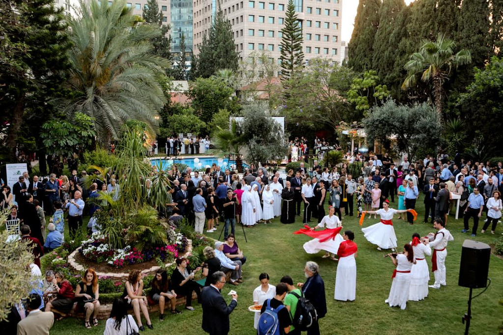 Traditional music and dance accompanied delicious Italian fare at the celebration marking the Festa della Repubblica, or, Day of the Republic at Italian Ambassador to Israel Francesco Maria Talò's residence in Ramat Gan on Thursday, June 2, 2016 (Rossella Tercatin/Times of Israel)