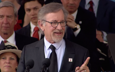 Steven Spielberg speaking at the Harvard University commencement ceremony, May 26, 2016. (screenshot: YouTube)