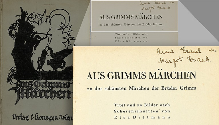 'Grimm's Fairy Tales' book in which Anne Frank wrote her name and that of her sister, Margot Frank. In May of 2016, the book was purchased at auction for $50,000 by the Museum of World War II in Natick, Massachusetts (Swann Auction Galleries)