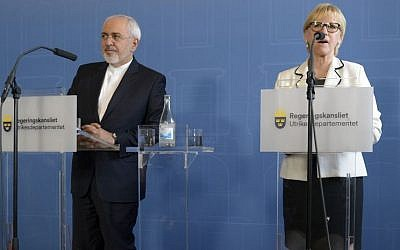Iran's Foreign Minister Mohammad Javad Zarif, left, looks on during a joint press conference with his Swedish counterpart Margot Wallstrom, at the Ministry for Foreign Affairs in Stockholm, June 1, 2016. (Maja Suslin/TT News Agency via AP)