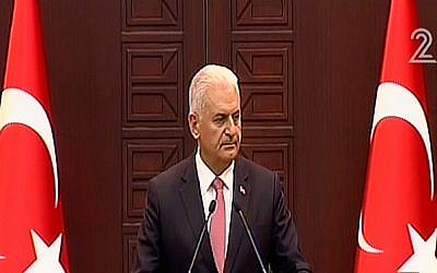 Turksih Prime Minister Binali Yildirim announces his country's rapprochement deal with Israel on Monday, June 27, 2016 (screen capture: Channel 2)