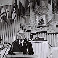 Prime Minister Levi Eshkol in Ivory Coast in June, 1966. (Moshe Fridan/GPO)