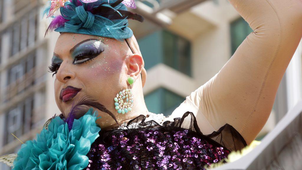 A participant at Tel Aviv's Gay Pride Parade, June 3, 2016. (Luke Tress/Times of Israel)