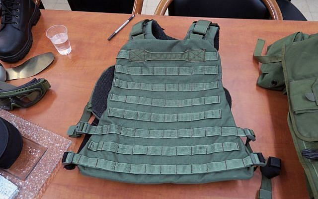 Soldiers can attach the pouches they need for their specific role to the IDF's new combat vests. (Luke Tress/Times of Israel)