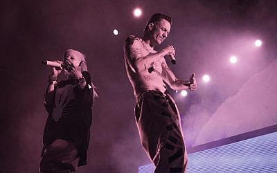 "Die Antwoord, or ""The Answer,"" performed for an Israeli audience of 10,000, June 8, 2016 and will return August 2018 (Orit Pnini)"