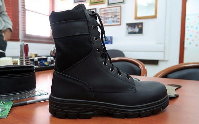 The IDF's new work boots feature protective metal plates in the sole and around the soldiers' toes. (Luke Tress/Times of Israel)