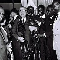Prime Minister Levi Eshkol in Ivory Coast, June 1, 1966. (Moshe Fridan/GPO)