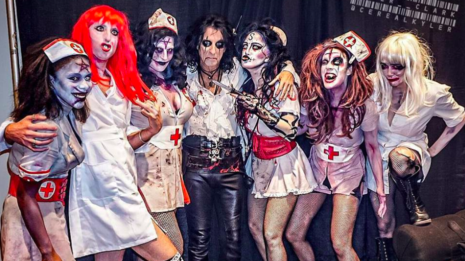 alice cooper and some of his stage personas for the wild wacky ride that is