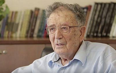 A contemporary image of Holocaust scholar Prof. Yehuda Bauer, author of the 1994 'Jews for sale?: Nazi-Jewish negotiations.' (YouTube screenshot)