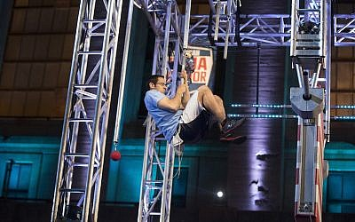 "American Ninja Warrior ""Philadelphia Qualifier"" Akiva Neuman -- (Mitchell Leff/NBC/NBCU Photo Bank via Getty Images via JTA)"