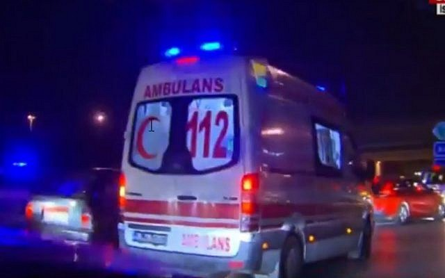 An ambulance races to the scene of an attack at Ataturk airport in Istanbul on June 28, 2016 (screen capture: YouTube)