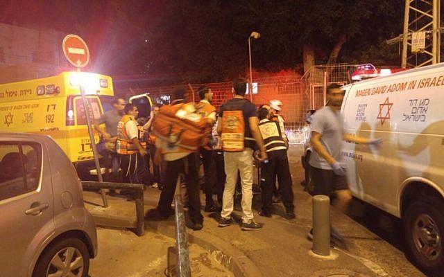 The scene of the Tel Aviv shooting attack on the Sarona market on June 8, 2016 (Judah Ari Gross/Times of Israel)