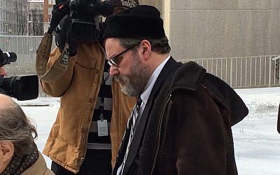 Rabbi Barry Freundel exiting the courthouse after entering his guilty plea, Feb. 19, 2015. (JTA/Dmitriy Shapiro/Washington Jewish Week)
