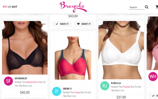 Brayola is a social network for lingerie shopping. (Courtesy of Brayola)