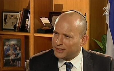 Jewish Home leader Naftali Bennett talks to Channel 2 in an interview segment aired on June 2, 2016 (screen capture: Channel 2)