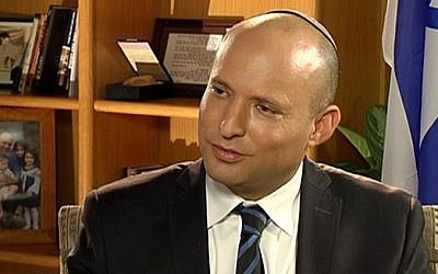 Jewish Home leader Naftali Bennett on Channel 2's 'Meet the Press', June 4, 2016  (Channel 2 screenshot)