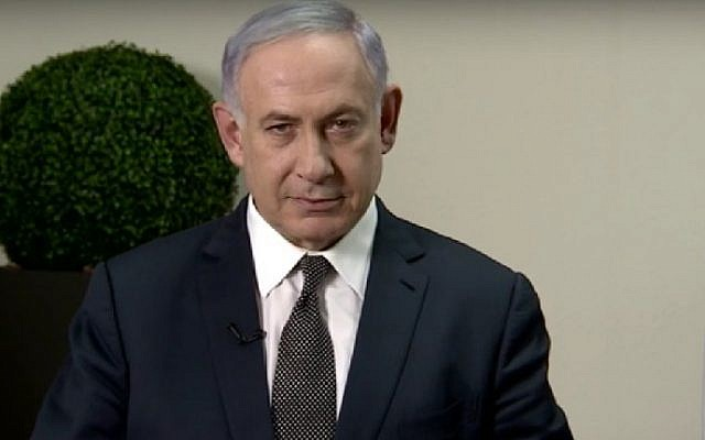 Prime Minister Benjamin Netanyahu issues a video response to former defense minister Moshe Ya'alon's accusations on June 16, 2016. (screenshot: YouTube)