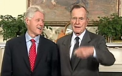 Former presidents Bill Clinton (L) and George H.W. Bush (YouTube screenshot)