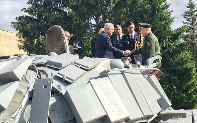 Prime Minister Benjamin Netanyahu attends an official ceremony to receive an IDF tank captured during the First Lebanon War, in Moscow on June 8, 2016. (GPO)