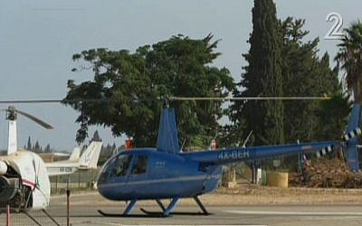 An Israeli civilian helicopter that entered Lebanese air space on June 2, 2016 (screen capture: Channel 2)