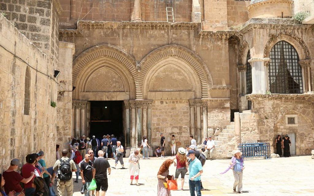 The entrance to the Church of the Holy Sepulchre. (Shmuel Bar-Am)