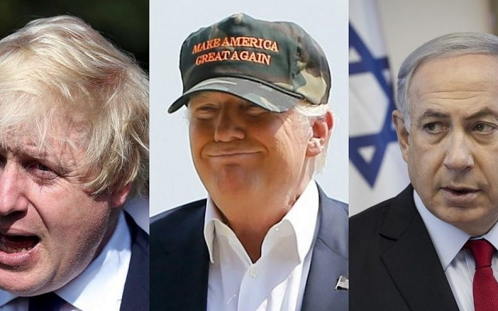 UK Foreign Secretary Boris Johnson (L), US President-elect Donald Trump (C) and Prime Minister Benjamin Netanyahu (AFP PHOTO / DANIEL LEAL-OLIVAS AND Scott Heppell, AP Photo/Keith Srakocic, Miriam Alster/Flash90)