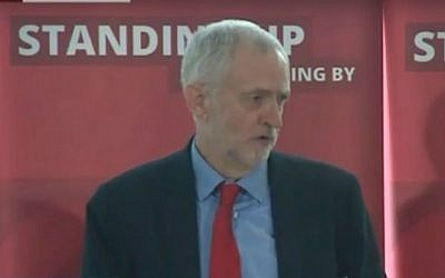 British Labour leader Jeremy Corbyn discusses the party's anti-Semitism inquiry during a speech in London on June 30 2016 (screen capture: YouTube)