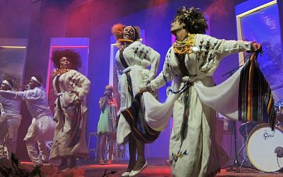 Members of the Insara Performance Group dancing a traditional Ethiopian dance at the celebratory launch of the National Institute for Ethiopian Jewry Heritage Center on June 19, 2016 in Jerusalem. (Melanie Lidman/Times of Israel)