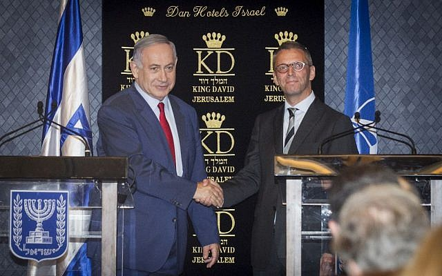 Prime Minister Benjamin Netanyahu gives a joint press statement together with Jesper Vahr, Denmark's ambassador to Israel, during a meeting with ambassadors from NATO member states, in Jerusalem on June 14, 2016 (Miriam Alster/FLASH90)