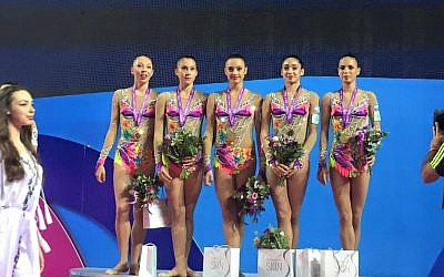 Israel's rhythmic gymnastics team receives the gold medal at the the 32nd Rhythmic Gymnastics European championships 2016 at the Holon Toto Hall in Holon on June 19, 2016. (Courtesy Israel Gymnastic Association Facebook)