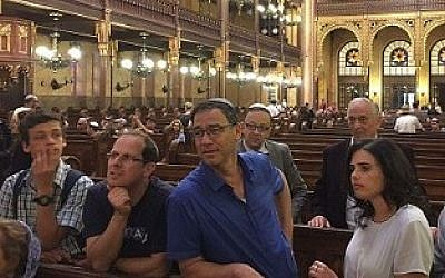 From right: Justice Minister Ayelet Shaked, State Attorney Shai Nitzan and Deputy Attorney General Raz Nizri visit the Great Synagogue in Budapest before the start of a conference about combating incitement on the Internet, June 4, 2016, Facebook